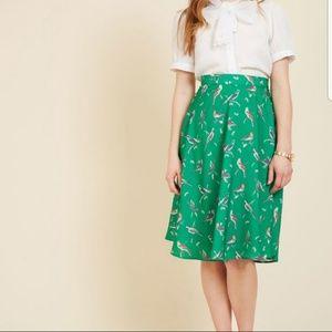 Just this sway Modcloth Bird midi Skirt 4 NWOT